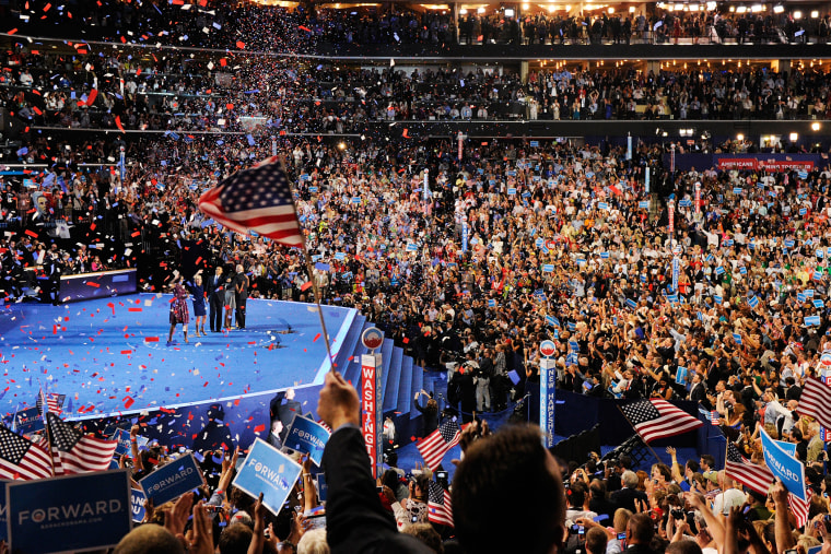 The 2012 Democratic National Convention in Charlotte, North Carolina on Sept. 6, 2012. (Photo by Kevork Djansezian/Getty)