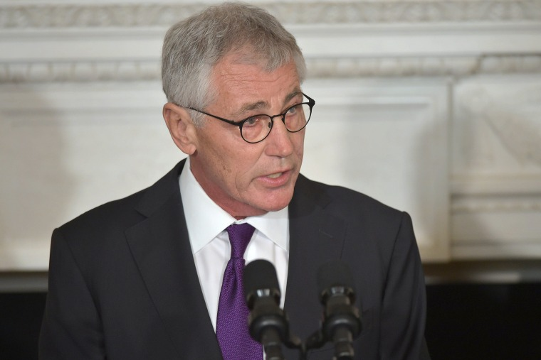 US Defense Secretary Chuck Hagel speaks during a press conference where President Barack Obama announced Hagel's departure at the White House on Nov. 24, 2014 in Washington, DC. (Mandel Ngan/AFP/Getty)