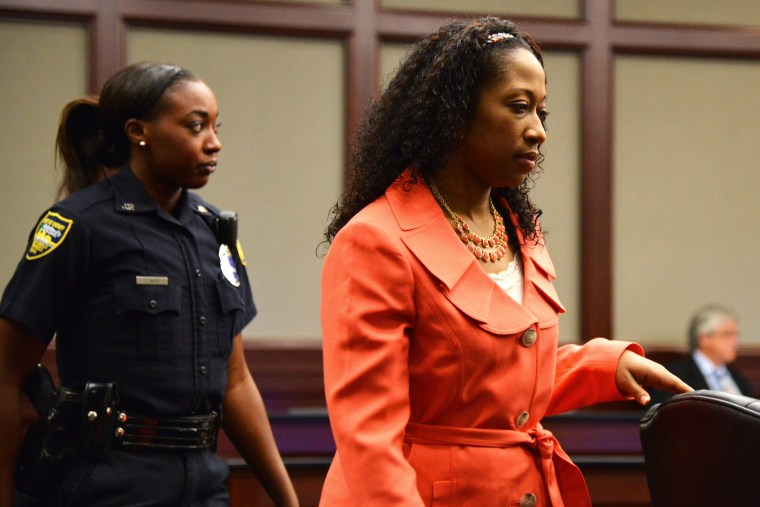 Marissa Alexander enters the courtroom for a hearing on June 10, 2014 in Jacksonville, Fla. (Photo by Bob Mack/The Florida Times-Union/Pool/AP)