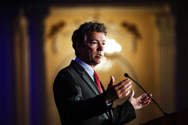 Kentucky Senator Rand Paul address attendees during the Republican National Committee spring meeting at the Peabody hotel in Memphis, Tenn., on May 9, 2014. (Photo by William DeShazer/The Commercial Appeal/AP)