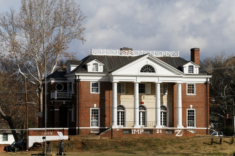 The Phi Kappa Psi fraternity house at the University of Virginia in Charlottesville, Va., Nov. 24, 2014. (Photo by Steve Helber/AP)