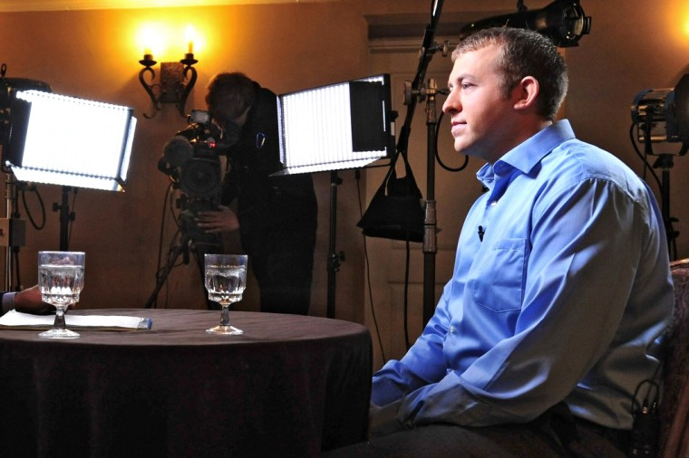 Police officer Darren Wilson is shown in this handout photo provided by ABC News during an exclusive interview with ABC News' George Stephanopoulos, in Missouri, Nov. 25, 2014 as he breaks his silence about the shooting of Michael Brown.