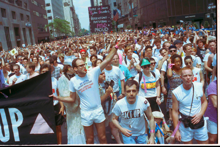 Members of ACT-UP march in New York's annual Gay Pride Parade, June 25, 1990. (Photo by Joseph F. Major/AP)