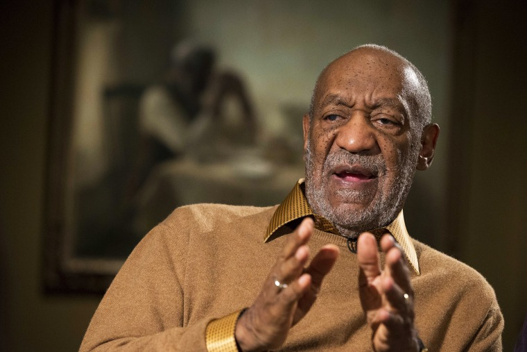 In this Nov. 6, 2014 file photo, Entertainer Bill Cosby gestures during an interview in Washington, D.C. (Photo by Evan Vucci/AP)