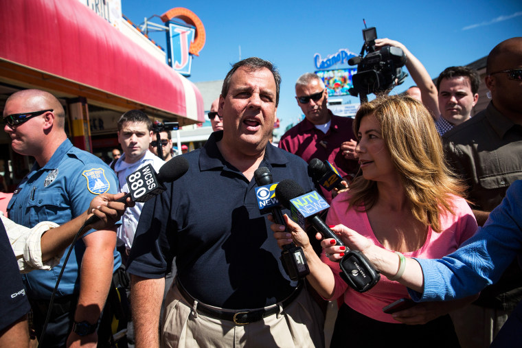 New Jersey Governor Chris Christie takes questions from the media on Aug. 29, 2014 in Seaside Heights, N.J. (Photo by Andrew Burton/Getty)