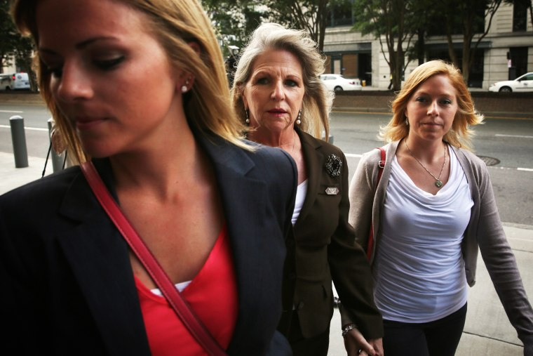 Maureen McDonnell (2nd L) returns to U.S. District Court with daughters Rachel (L) and Cailin Young (R) on Sept. 4, 2014, in Richmond, Va. (Photo by Alex Wong/Getty)