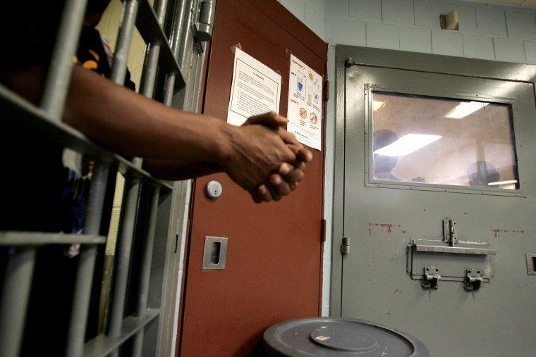 Inmates in a mental observation unit on Rikers Island Prison in New York in Oct. of 2004.