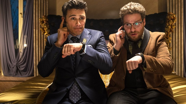 """This image released by Columbia Pictures shows James Franco, left, and Seth Rogen in \""""The Interview.\"""" (Photo by Ed Araquel/Columbia Pictures/AP)"""