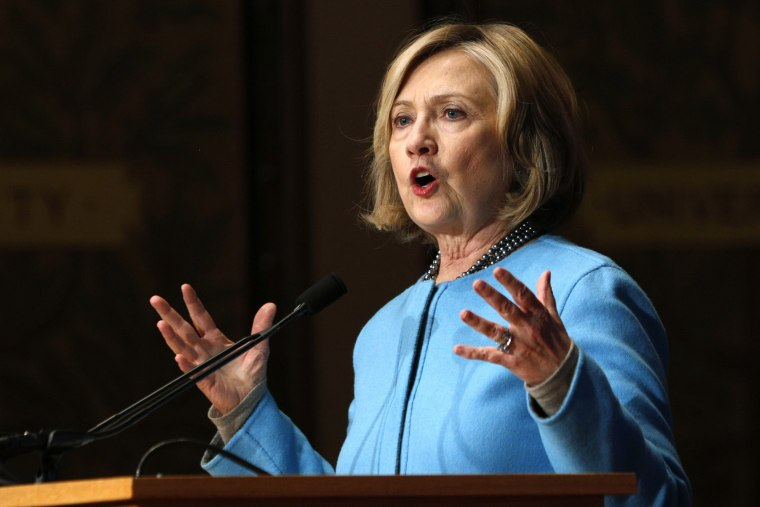 """Former Secretary of State Hillary Clinton speaks on """"Smart Power: Security Through Inclusive Leadership"""" at Georgetown University in Washington on Dec. 3, 2014."""