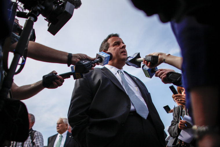 New Jersey Governor Chris Christie talks with members of the media on Oct. 29, 2014 in Toms River, N.J. (Photo by Kena Betancur/Getty)