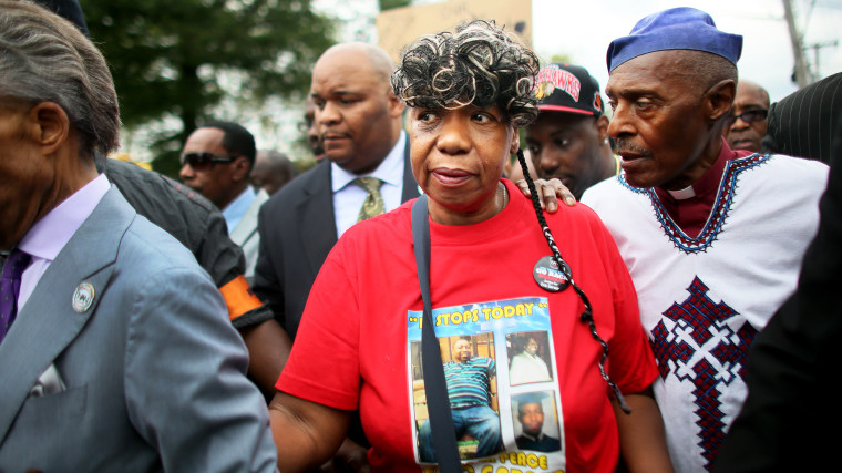 Gwen Carr, mother of Eric Garner, marches during a rally against police violence on Aug. 23, 2014 in the Staten Island borough of New York, N.Y. (Photo by Yana Paskova/Getty)