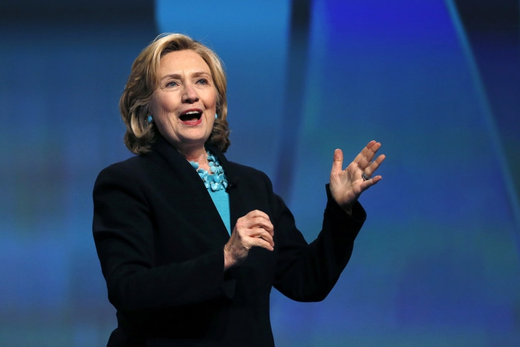 Former Secretary of State Hillary Rodham Clinton speaks at the Massachusetts Conference for Women in Boston, on Dec. 4, 2014.