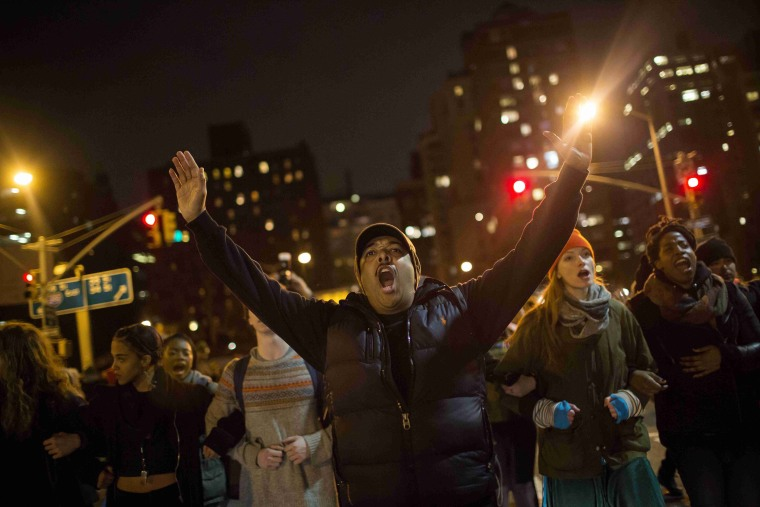 Protesters shout slogans during a demonstration demanding justice for the death of Eric Garner in Manhattan, New York City, on Dec. 5, 2014.