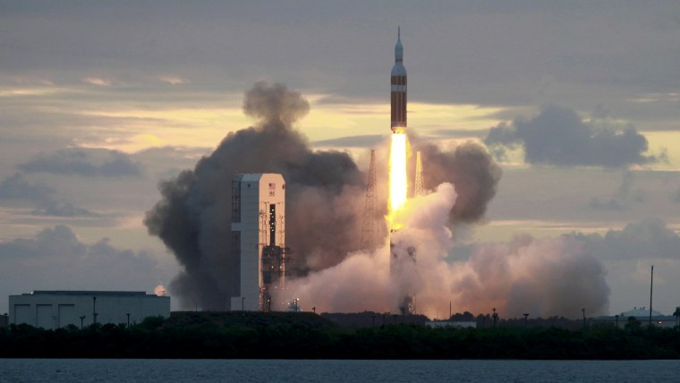 The Delta IV Heavy rocket with the Orion spacecraft lifts off from the Cape Canaveral Air Force Station in Cape Canaveral, Florida Dec. 5, 2014.