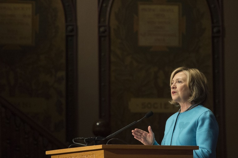 Former US Secretary of State Hillary Clinton at Georgetown University in Washington, DC, on Dec. 3, 2014. (Jim Watson/AFP/Getty)