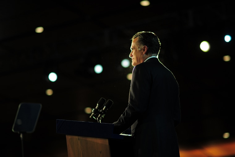 Republican presidential candidate Mitt Romney concedes defeat to US President Barack Obama on Nov. 7, 2012 in Boston, Mass. (Emmanuel Dunand/AFP/Getty)