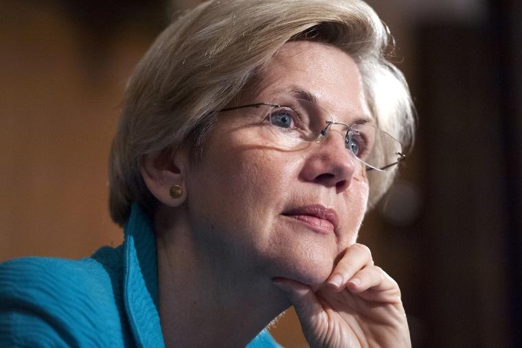 Sen. Elizabeth Warren, D-Mass., attends a meeting in Washington, D.C., on July 8, 2014. (Photo By Tom Williams/CQ Roll Call/Getty)