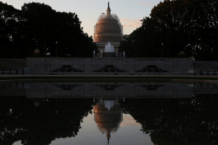 The U.S. Capitol is reflected in the Senate Park Reflecting pool, on Nov. 4, 2014 in Washington, DC. (Photo by Mark Wilson/Getty)