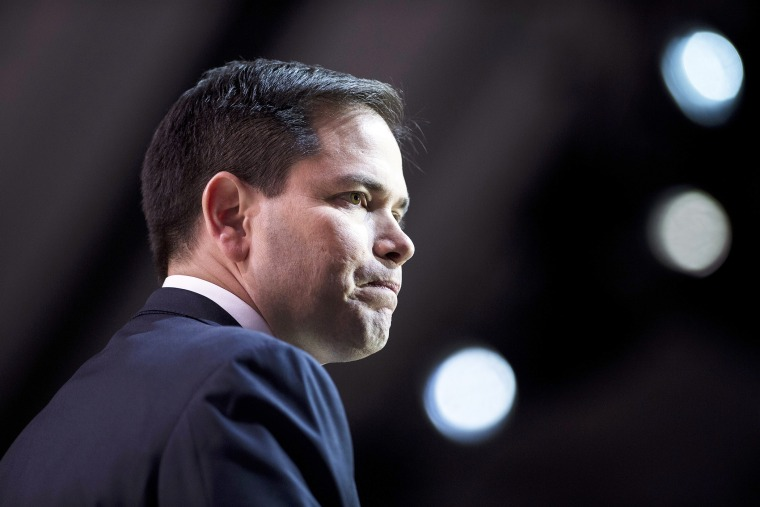 Senator Marco Rubio (R-Fla.) speaks at an event on March 6, 2014 in National Harbor, Md. (Photo by Brendan Smialowski/AFP/Getty)