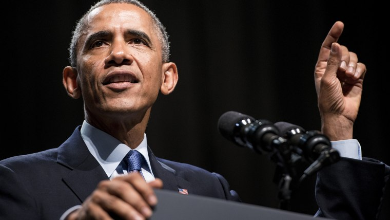 President Barack Obama speaks at an event on Oct. 2, 2014 in Evanston, Ill. (Photo by Brendan Smialowski/AFP/Getty)