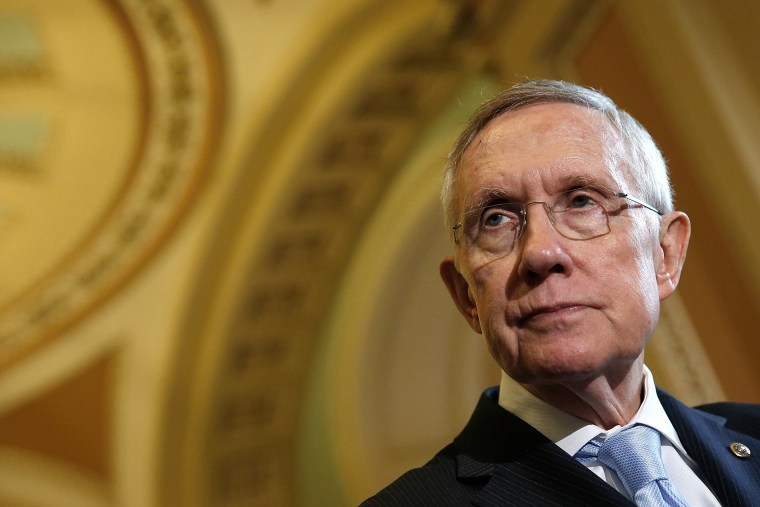 Senate Majority Leader Harry Reid answers questions following the weekly Democratic policy luncheon at the U.S. Capitol on Sept. 16, 2014 in Washington, DC. (Win McNamee/Getty)