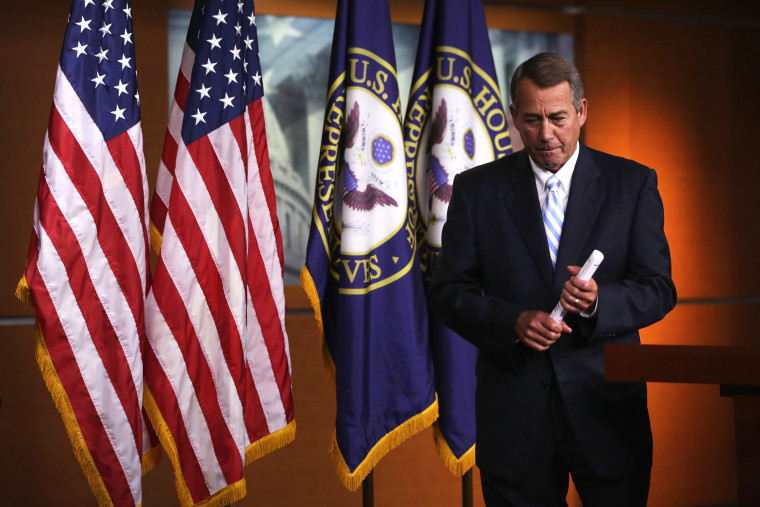 Speaker of the House Rep. John Boehner (R-Ohio) leaves after a press briefing July 31, 2014 on Capitol Hill in Washington, D.C. (Photo by Alex Wong/Getty)