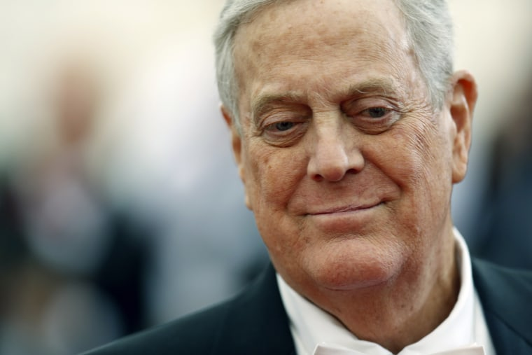 "Businessman David Koch arrives at the Metropolitan Museum of Art Costume Institute Gala Benefit celebrating the opening of ""Charles James: Beyond Fashion"" in Upper Manhattan on May 5, 2014. (Carlo Allegri/Reuters)"