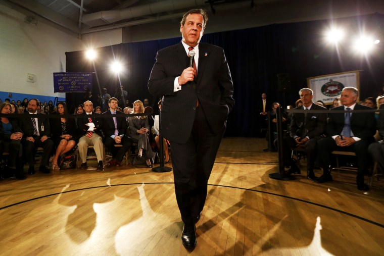 New Jersey Gov. Chris Christie talks during a town hall meeting, April 9, 2014 in Fairfield, N.J (Photo by Julio Cortez/AP)