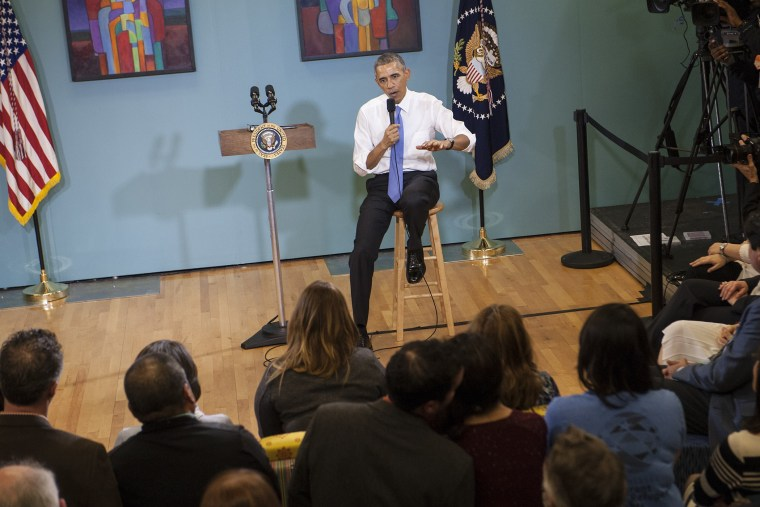 US President Barack Obama speaks about his recent executive actions on immigration on Dec. 9, 2014 at the Casa Azafran in Nashville, Tenn. (Nicholas Kamm/AFP/Getty)