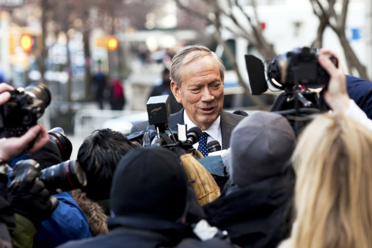 Former New York Gov. George Pataki arrives at an event in New York, N.Y. on Feb. 4, 2013. (Photo by Richard Perry/The New York Times/Redux)
