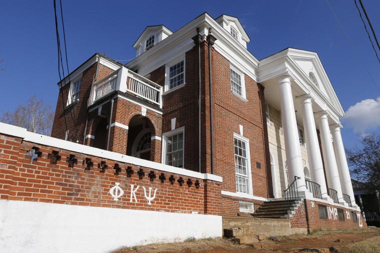 The Phi Kappa Psi fraternity house at the University of Virginia in Charlottesville, Va., Nov. 24, 2014. (Photo by Steve Helber/AP)