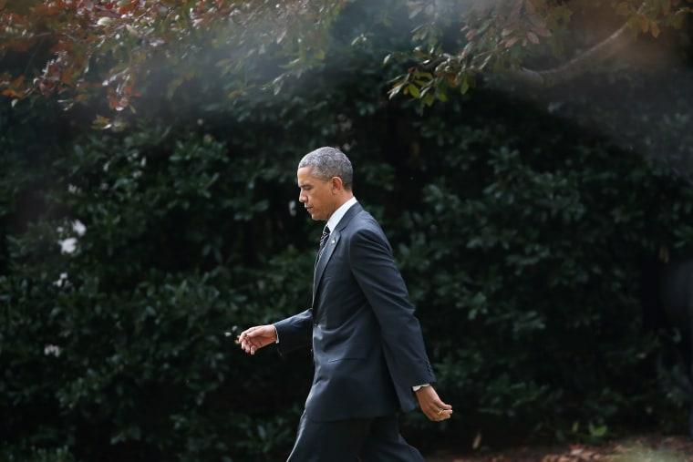 President Barack Obama walks toward Marine One while departing the White House, Nov. 25, 2014 in Washington, D.C. (Photo by Mark Wilson/Getty)