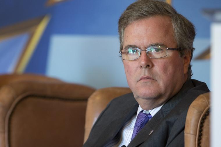 Former Fla. Gov. Jeb Bush at the Hispanic Leadership Network conference in Coral Gables, Fla. on April 19, 2013. (J Pat Carter/AP)