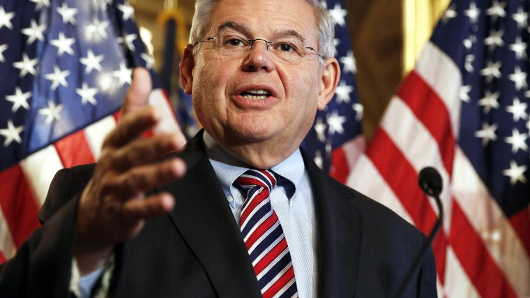 U.S. Sen. Robert Menendez (D-NJ) speaks at a news conference on Capitol Hill in Washington, D.C. on Dec. 10, 2014. (Photo by Larry Downing/Reuters)