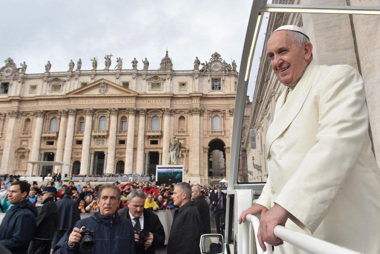 Pope Francis arrives to his Wednesday's General Audience in St. Peter's Square, Vatican City on Dec. 3, 2014. (L'OSSERVATORE ROMANO/EPA)