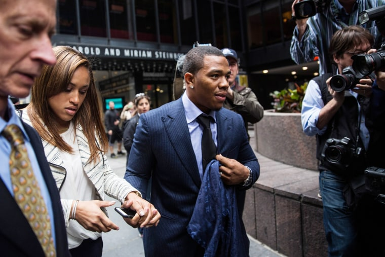 Suspended Baltimore Ravens football player Ray Rice and his wife Janay Palmer arrive for a hearing on Nov. 5, 2014 in New York City. (Andrew Burton/Getty)