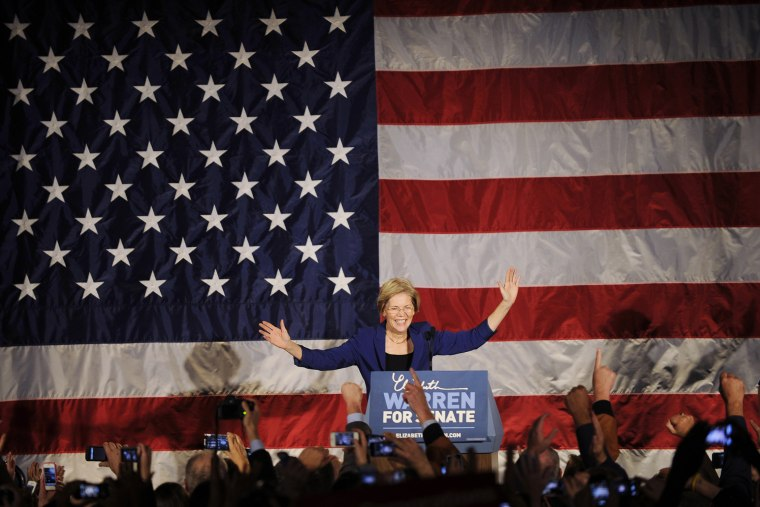 Democratic candidate for the U.S. Senate seat for Massachusetts Elizabeth Warren addresses supporters during her victory rally in Boston