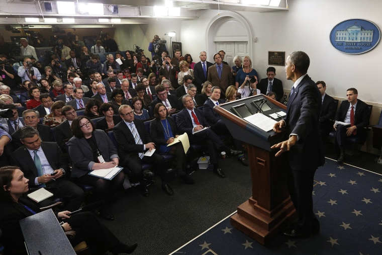 President Barack Obama responds to a question at his end of the year press conference in the briefing room of the White House in Washington, D.C. on Dec. 19, 2014. (Photo by Kevin Lamarque/Reuters)