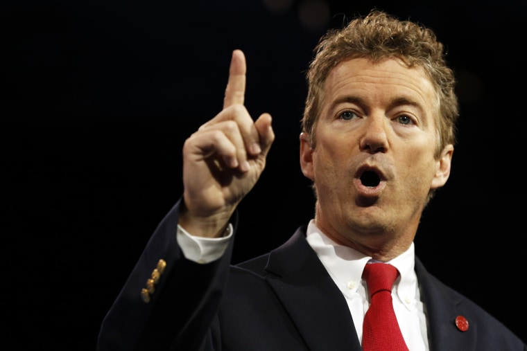 Senator Rand Paul of Kentucky gestures at the Conservative Political Action Conference (CPAC) at National Harbor, Md. on March 14, 2013. (Photo by Kevin Lamarque/Reuters)