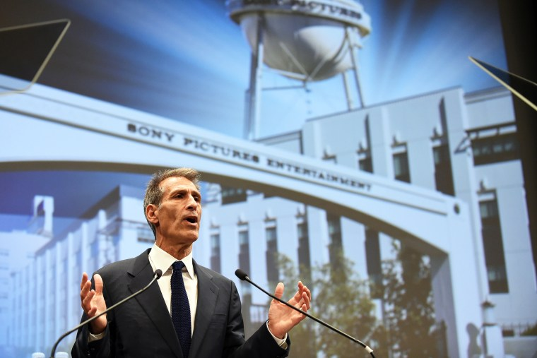 Sony Entertainment CEO and Sony Pictures Entertainment chairman and CEO Michael Lynton speaks at the company's headquarters in Tokyo on Nov. 18, 2014. (Photo by Toshifumi Kitamura/AFP/Getty)