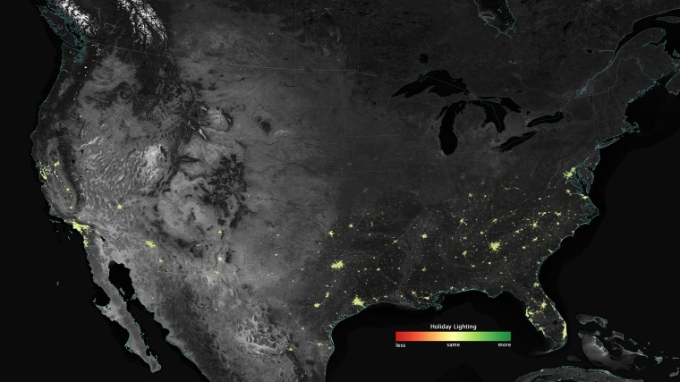 City lights shine brighter during the holidays in the United States when compared with the rest of the year, as shown using a new analysis of daily data from the NASA-NOAA Suomi NPP satellite.