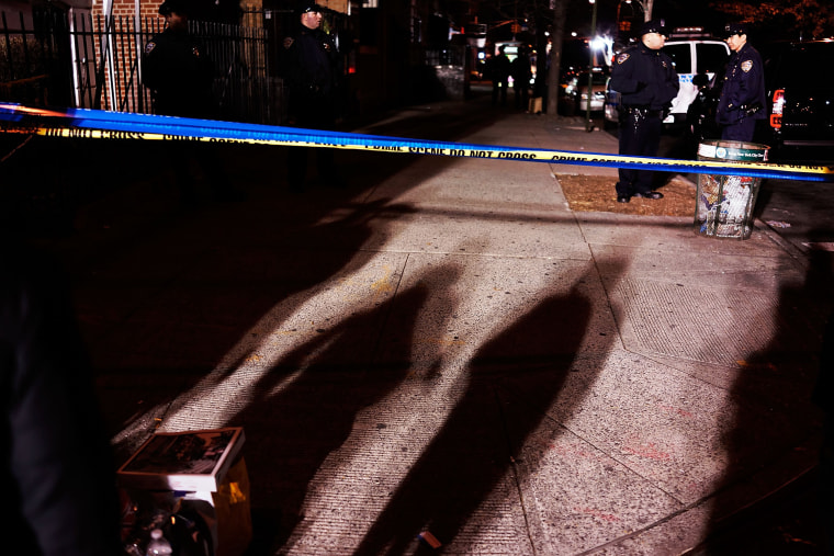 The scene at a shooting where two New York City police officers were killed in Brooklyn, N.Y. on Dec. 20, 2014. (Spencer Platt/Getty)