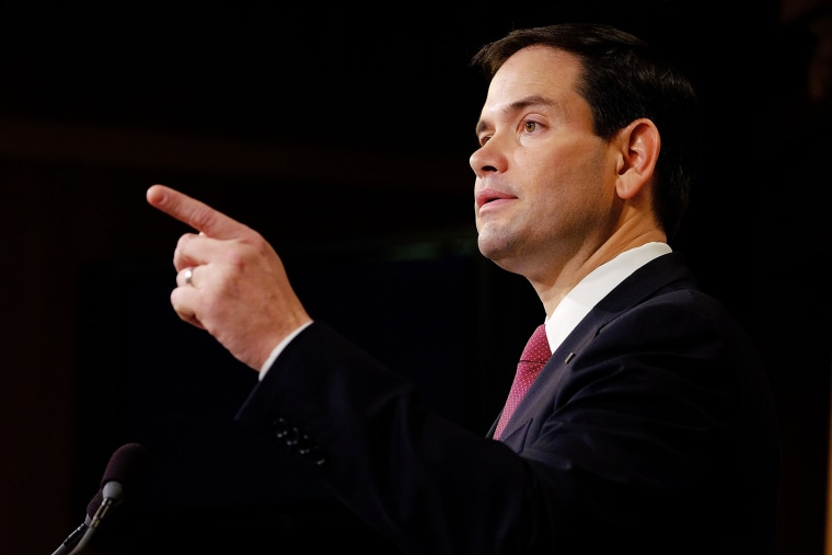 Sen. Marco Rubio (R-FL) speaks to the press on Dec. 17, 2014 in Washington, D.C. (Photo by T.J. Kirkpatrick/Getty)