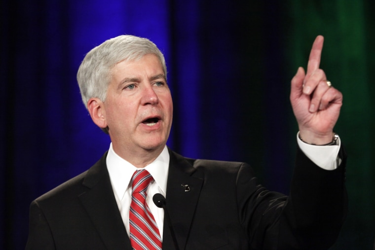 Gov. Rick Snyder speaks at a election night party in Detroit, Mich., on Nov. 4, 2014. (Photo by Paul Sancya/AP)