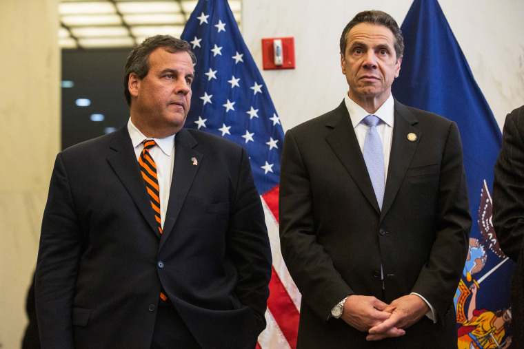 New Jersey Governor Chris Christie and New York Governor Andrew Cuomo stand side by side during a press conference on Sept. 15, 2014 in New York, N.Y. (Photo by Andrew Burton/Getty)