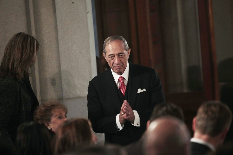 Former New York Governor Mario Cuomo reacts to applause at a swearing-in ceremony for his son, New York Governor Andrew Cuomo, at the Capitol in Albany, N.Y. on Jan. 1, 2011. (Nathaniel Brooks/Pool/Reuters)