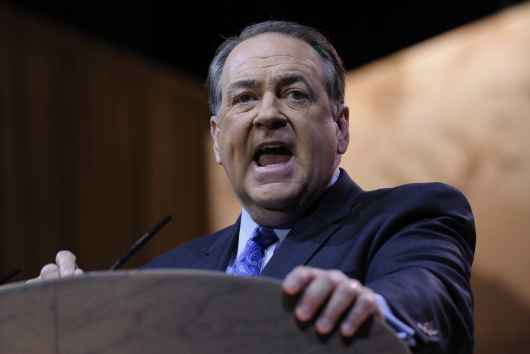 Mike Huckabee speaks at CPAC in National Harbor, Md., Friday, March 7, 2014. (Photo by Susan Walsh/AP)