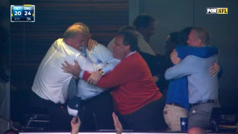 Chris Christie, embracing Cowboy's owner Jerry Jones at a Cowboys game on Jan. 4, 2015.