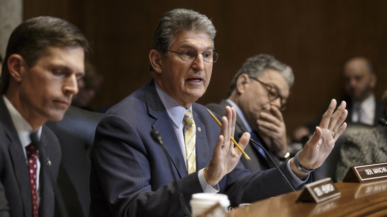 Sen. Joe Manchin, D-W.V., a Democratic sponsor of the Keystone XL pipeline bill, makes his plea at the Senate Energy and Natural Resources Committee markup on the controversial project, Jan. 8, 2015, on Capitol Hill. (AP Photo/J. Scott Applewhite)