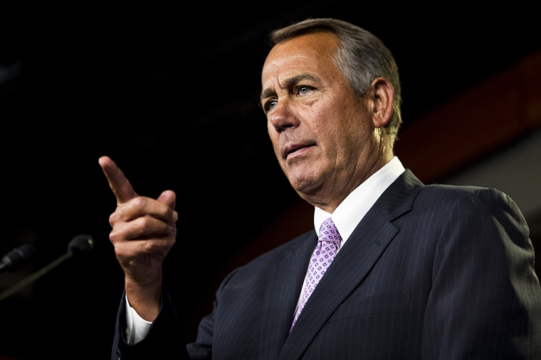 Speaker of the House John Boehner, R-Ohio, holds his weekly press conference in the Capitol on Jan. 8, 2015 in Washington, D.C. (Photo By Bill Clark/CQ Roll Call/Getty)